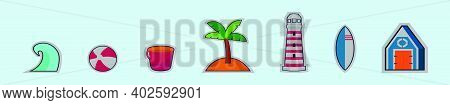 Set Of Beach Papercraft Cartoon Icon Design Template With Various Models. Modern Vector Illustration
