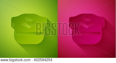 Paper Cut Pilot Hat Icon Isolated On Green And Pink Background. Paper Art Style. Vector