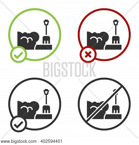 Black Shovel In Snowdrift Icon Isolated On White Background. Circle Button. Vector