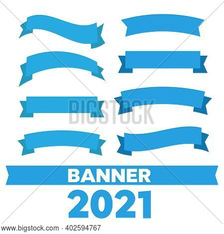 Vector Ribbon Set On White Background. Banner Ribbon Vector Set