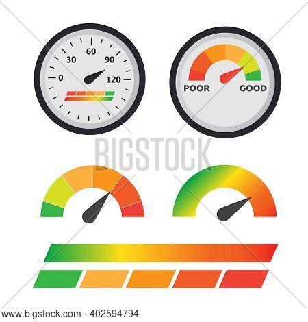 Speedometer, Tachometer Vector. Arrow Score Good Indicator