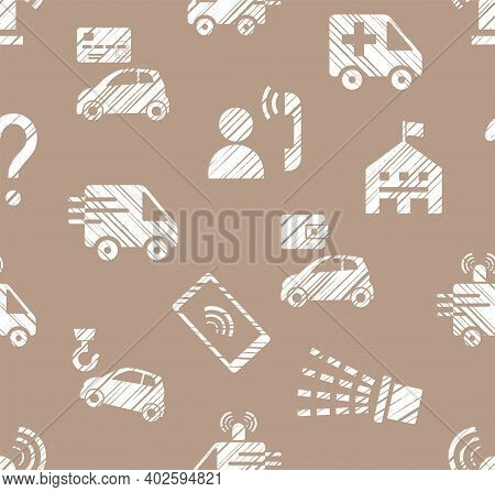 Emergency Service, Seamless Pattern, Monochrome, Hatching, Brown, Vector. Emergency Medical And Fire