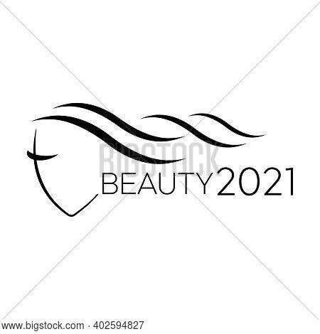 Woman Face Logo Template For Hair Salon Vector. Logo Hair Vector