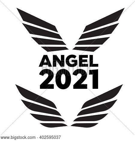 Angel Wings Drawing Vector Illustration. Set Of Heraldic Wings Or Angel Wings Drawn