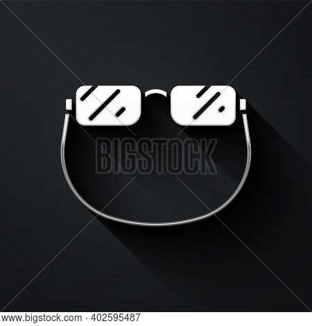 Silver Eyeglasses Icon Isolated On Black Background. Long Shadow Style. Vector