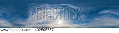 Sky Panorama With Altocumulus Clouds In Seamless Spherical Equirectangular Format. Complete Zenith F