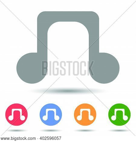 Eighth Quaver Note Of Music Language Vector Icon Illustrator Isolated On White Background