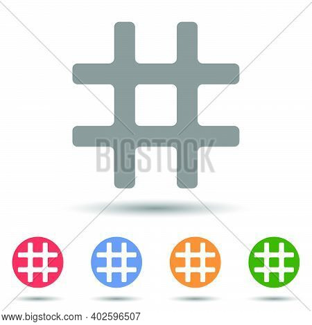 Hash Number Sign Vector Icon Illustrator Isolated On White Background
