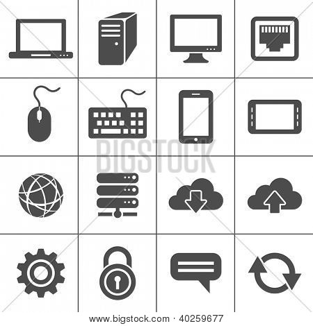Simplus icons series. Network and mobile devices. Raster version
