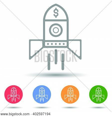 Business Startup Rocketship Launching Vector Illustration Isolated On White Background