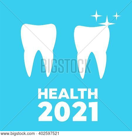 Healthy Teeth And Dental Implant. Dental Health Care And Oral Hygiene Vector