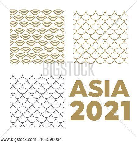 Japanese Pattern Background Vector. Wave Pattern. Sea Japan Pattern Vector
