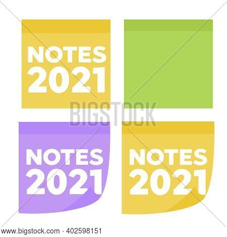 Colored Sheets Of Note Papers Vector Illustration. Multicolor Post It Notes Isolated