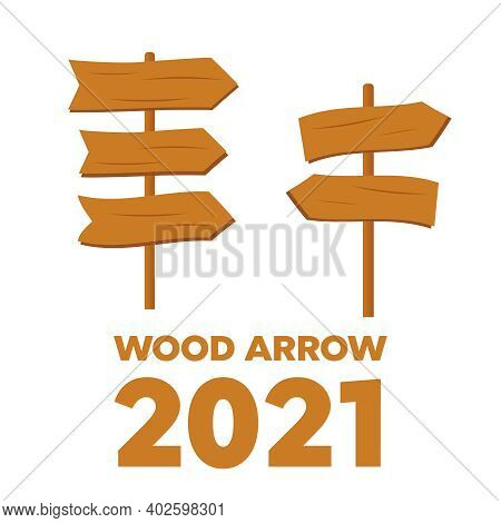 Vector Wooden Planks. Old Texture Wood Arrow. Cartoon Wooden Plank Signs