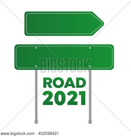 Blank Green Road Sign Isolated. Sign Street. Arrow Blank Sign