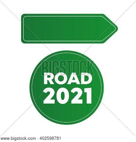 Green Blank Information Traffic Sign. Sign Street. Arrow Blank Sign