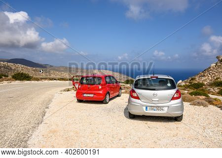Ios, Greece - September 21, 2020: Opel Corsa And Seat Mii On The Road In The East Part Of Ios Island