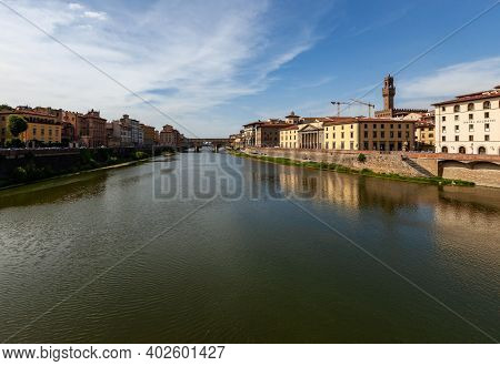 Aerial View Of The Arno River In Florence, Italy