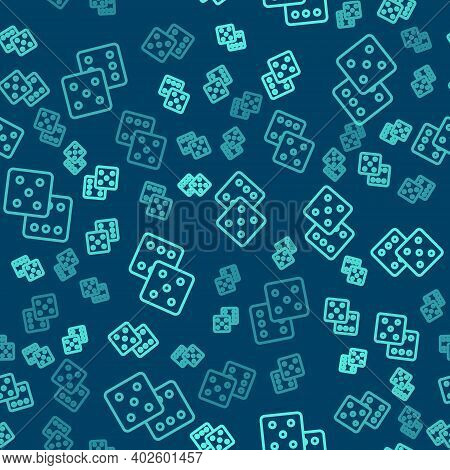 Green Line Game Dice Icon Isolated Seamless Pattern On Blue Background. Casino Gambling. Vector