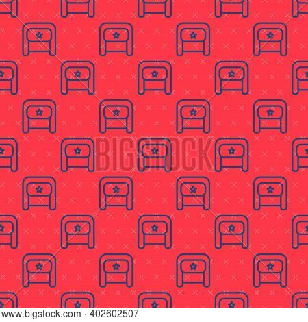Blue Line Ushanka Icon Isolated Seamless Pattern On Red Background. Russian Fur Winter Hat Ushanka W