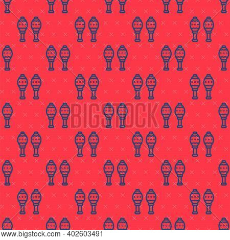 Blue Line Maracas Icon Isolated Seamless Pattern On Red Background. Music Maracas Instrument Mexico.