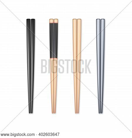 Set Of Realistic Chopsticks. Chopstick Element Asian Or Oriental Traditional Culture. Vector Isolate