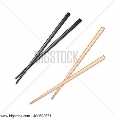 Realistic Black And Light Wooden Glossy Chopsticks. Chopstick Element Asian Or Oriental Traditional