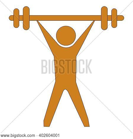 Brown Vector Illustration Of A Man Lifting Bar Weight