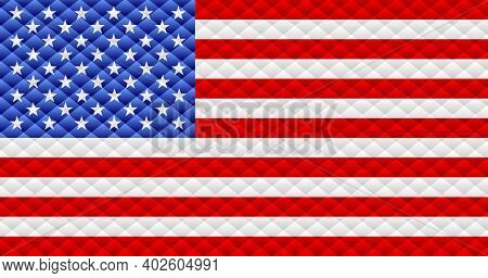 Mosaic Flag Of The Usa - Illustration,  Three Dimensional Flag Of Usa