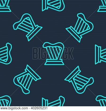 Green Line Harp Icon Isolated Seamless Pattern On Blue Background. Classical Music Instrument, Orhes