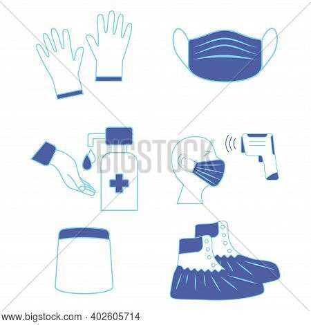 Hand Sanitizing And Temperature Check Station. Shoe Covers. Face Shield. Mask, Gloves And Temperatur