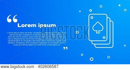 White Line Playing Cards Icon Isolated On Blue Background. Casino Gambling. Vector