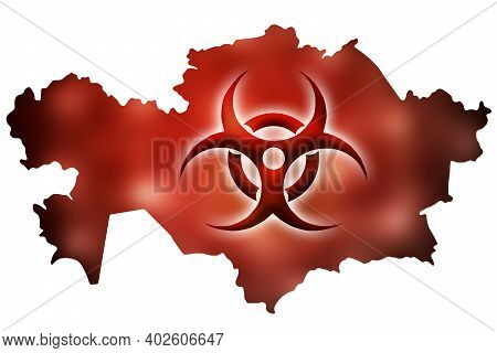 Biohazard Sign Against The Background Of A Contour Map Of Kazakhstan With A Red Glow. The Concept Of