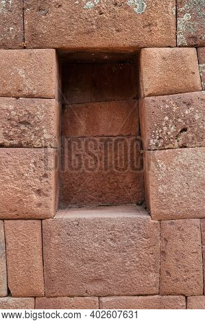 Details Of Ruins. Inca Structures In The Urban Sector Of Pisac. Pisac Is A Peruvian Village In The S