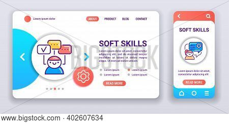 Soft Skills Web Banner And Mobile App Kit. Human Abilities. Outline Vector Illustration