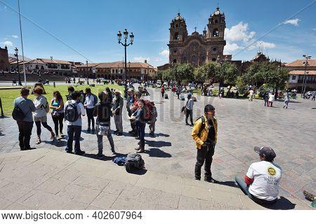 Cusco, Peru  - September 05, 2016: Unidentified People At Plaza De Armas Of Cusco, Peru.