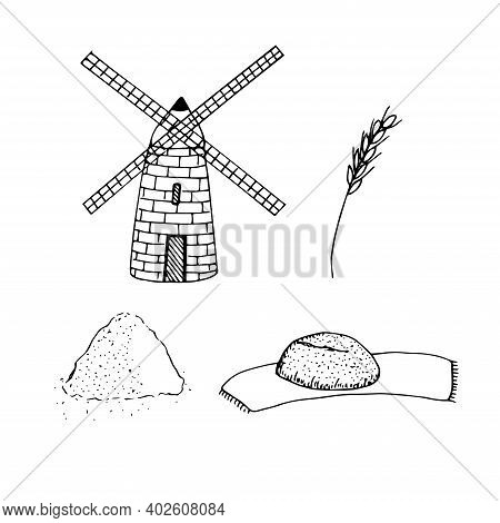 Set Of Flour Mill And Pastry Wheat Ear Flour Bread On A Napkin Hand Drawn