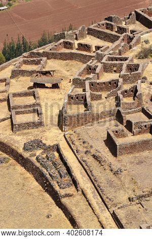 Inca Structures In The Urban Sector Of Pisac. Pisac Is A Peruvian Village In The Sacred Valley Of Th