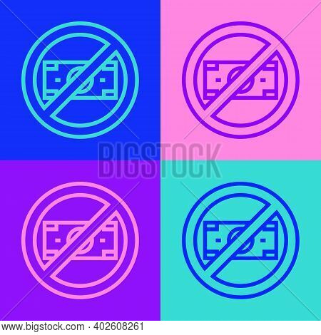Pop Art Line No Money Icon Isolated On Color Background. Prohibition Of Money. Vector