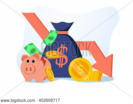 Stock Market Crash With Piggy Bank And Business Icons Vector Illustration Design. Credit And Debit,