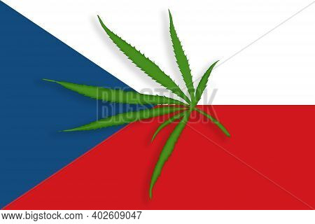 Czech Republic Flag With The Image Of Marijuana Leaves. Cannabis Legalization Concept In Czech Repub