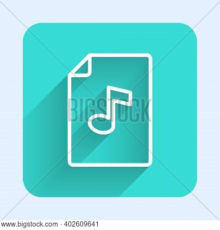 White Line Music Book With Note Icon Isolated With Long Shadow. Music Sheet With Note Stave. Noteboo