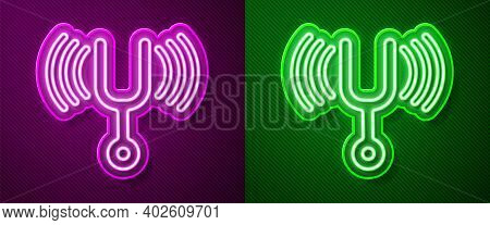 Glowing Neon Line Musical Tuning Fork For Tuning Musical Instruments Icon Isolated On Purple And Gre