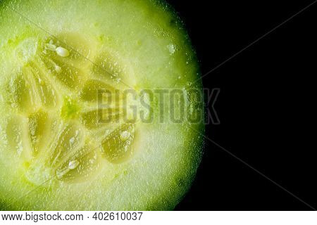 Cucumber Slices Isolated On Closup Details. Moisturising Concept