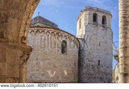 Church Of Sant Julia Seen From Old Hospital, Besalu. Garrotxa, Girona, Catalonia, Spain