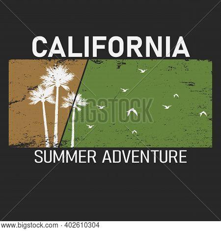 Summer Adventure Lettering With Palms Illustration. California Long Beach. Retro Vintage Tee Print.