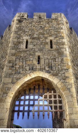 Portcullis Of First Defence Tower. Medieval Bridge Of Besalu. Garrotxa, Girona, Catalonia, Spain