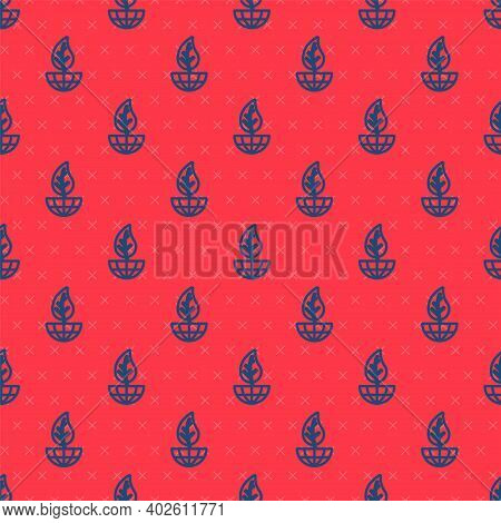 Blue Line Earth Globe And Leaf Icon Isolated Seamless Pattern On Red Background. World Or Earth Sign