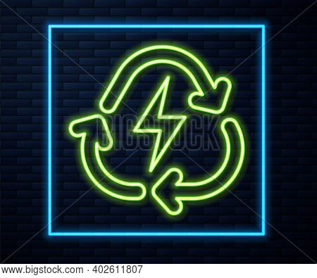 Glowing Neon Line Battery With Recycle Symbol Line Icon Isolated On Brick Wall Background. Battery W