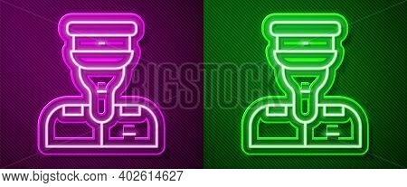 Glowing Neon Line Train Conductor Icon Isolated On Purple And Green Background. Vector
